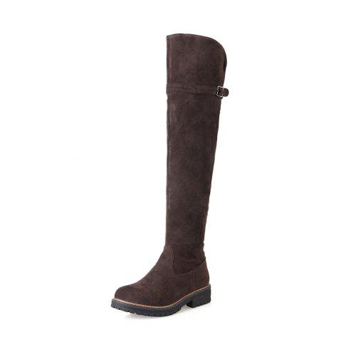 Online Women Shoes Round Toe Low Heel Riding Boots