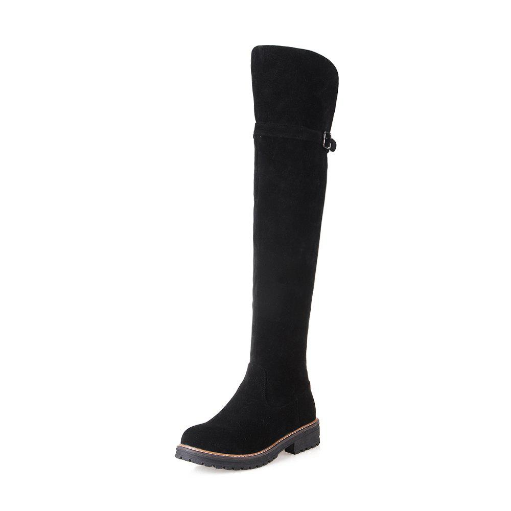 Unique Women Shoes Round Toe Low Heel Riding Boots