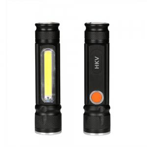 HKV LED USB Flashlight 4 Modes Zoomable Tactical Flashlights XML T6 COB Magnet Torch for Outdoor Camping -