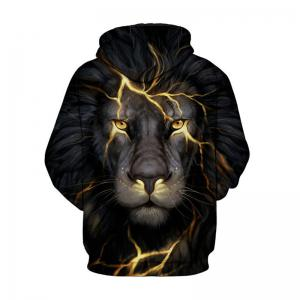 Fashion Men 3D Golden Lion Hoodie Hoody -