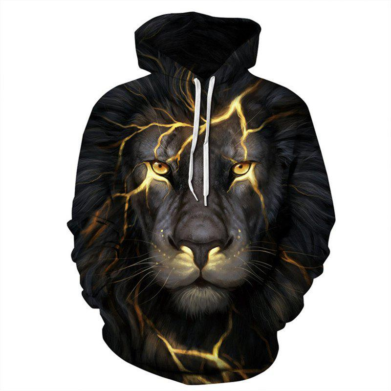 Chic Fashion Men 3D Golden Lion Hoodie Hoody