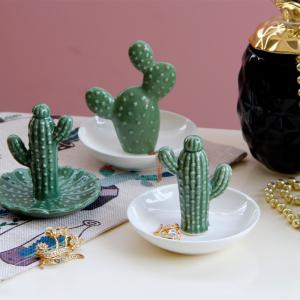 Fashion Cactus Plate Jewelry Tray Ring Storage Plate Food Decorations -