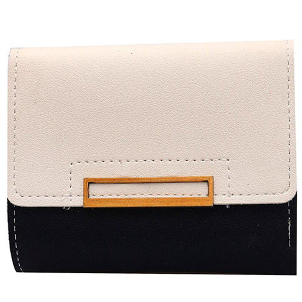 Outfit Purse Female Short Paragraph Hit Color Stitching Simple Three-fold Student Small Fresh Multifunctional Wallet