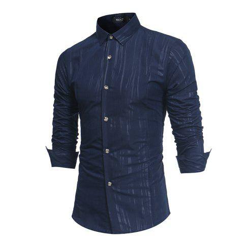 Outfit Spring and Autumn New Men'S British Fashion Dark Stripe Print Long Sleeve Slim Shirt