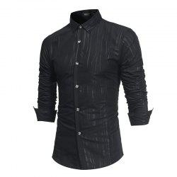 Spring and Autumn New Men'S British Fashion Dark Stripe Print Long Sleeve Slim Shirt -