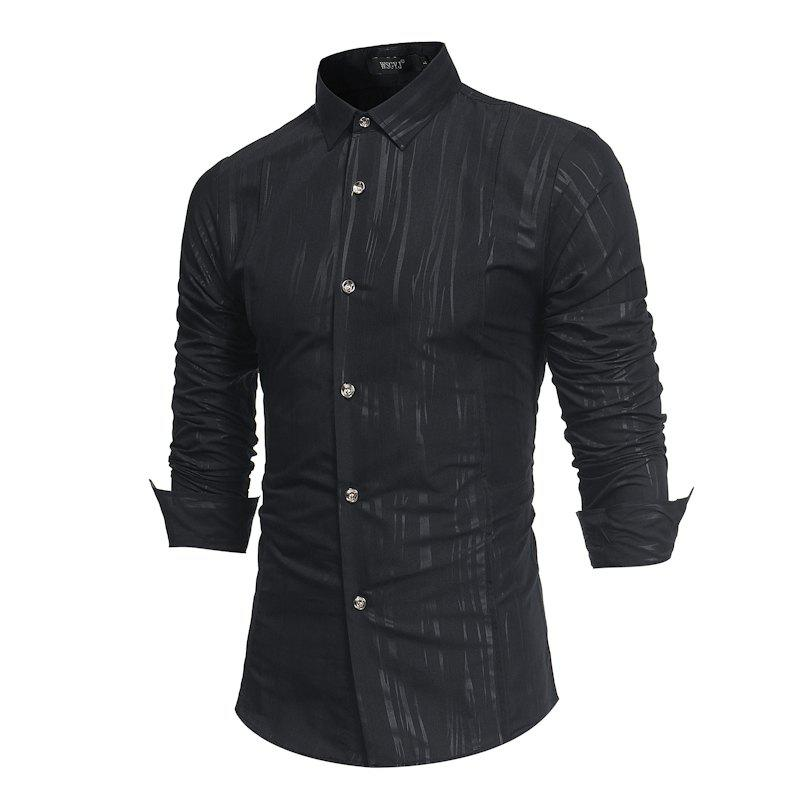 Shop Spring and Autumn New Men'S British Fashion Dark Stripe Print Long Sleeve Slim Shirt