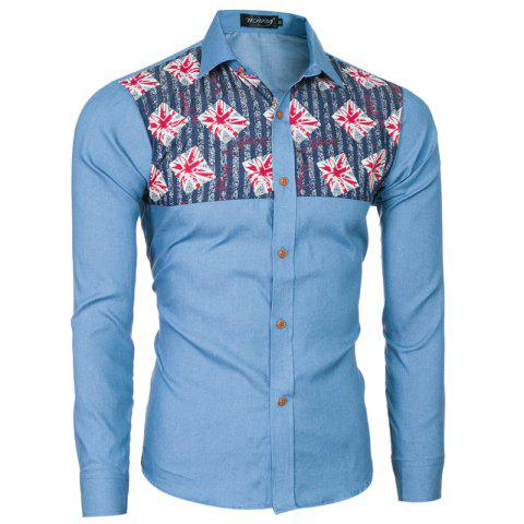 Fashion 2018 Spring and Summer New Foreign Trade Boutique Men's Stitching Denim Long-sleeved Shirt