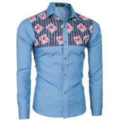 2018 Spring and Summer New Foreign Trade Boutique Men's Stitching Denim Long-sleeved Shirt -