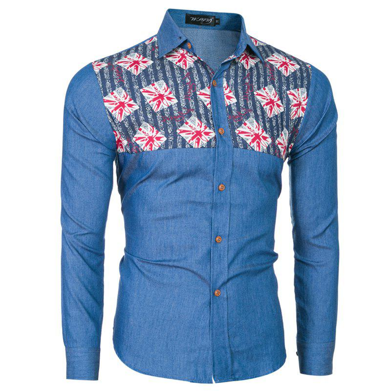 Store 2018 Spring and Summer New Foreign Trade Boutique Men's Stitching Denim Long-sleeved Shirt