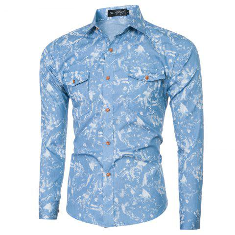 Shops 2018 Spring and Summer New Foreign Trade Classic Denim Men's Slim Long-sleeved Shirt