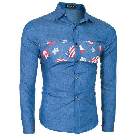 Latest 2018 New Fashion Men's Stitch Long Sleeve Shirt