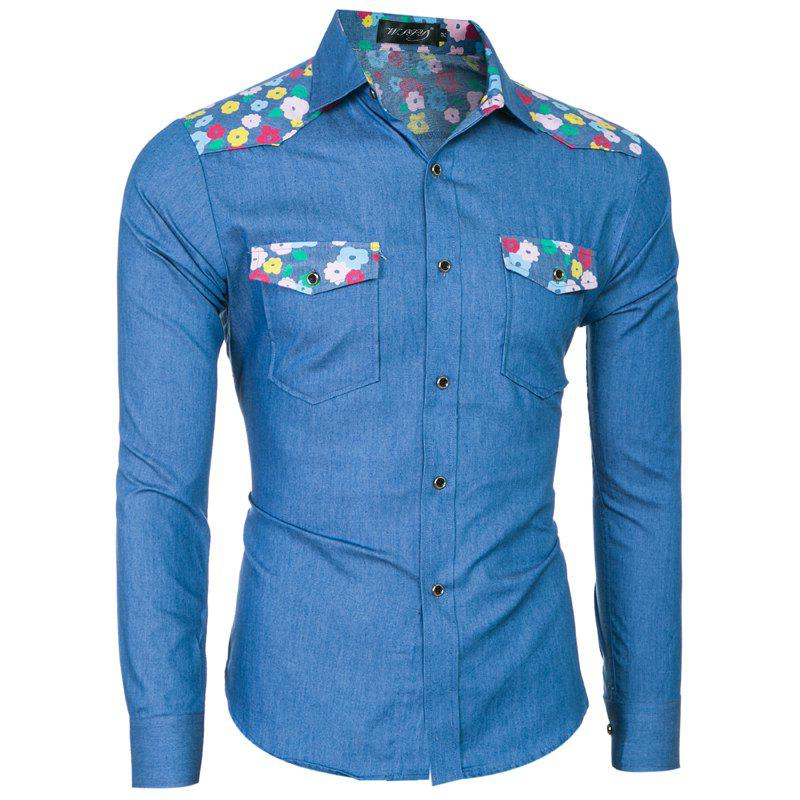 Buy 2018 Spring/Summer New Men's Denim Fabric Long Sleeve Shirt