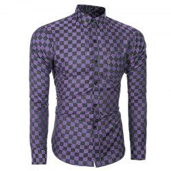 2018 Spring and Summer New Men's Casual Fashion Small Plaid Long-sleeved Shirt -