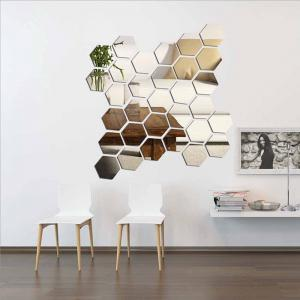 Hexagonal Mirror 3D Wall Sticker Home Furnishing Bedroom Decoration 12Pcs (Silver) -