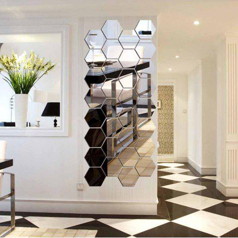 New Hexagonal Mirror 3D Wall Sticker Home Furnishing Bedroom Decoration 12Pcs (Silver)