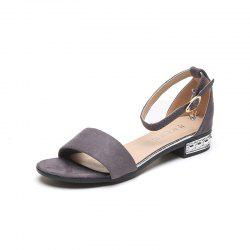 Flat Bottom Button Sandal Woman Thick Heel -