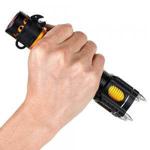 HKV XM-L T6 LED Flashlight Torch Audible Alarm Lamp Waterproof Self Defense -