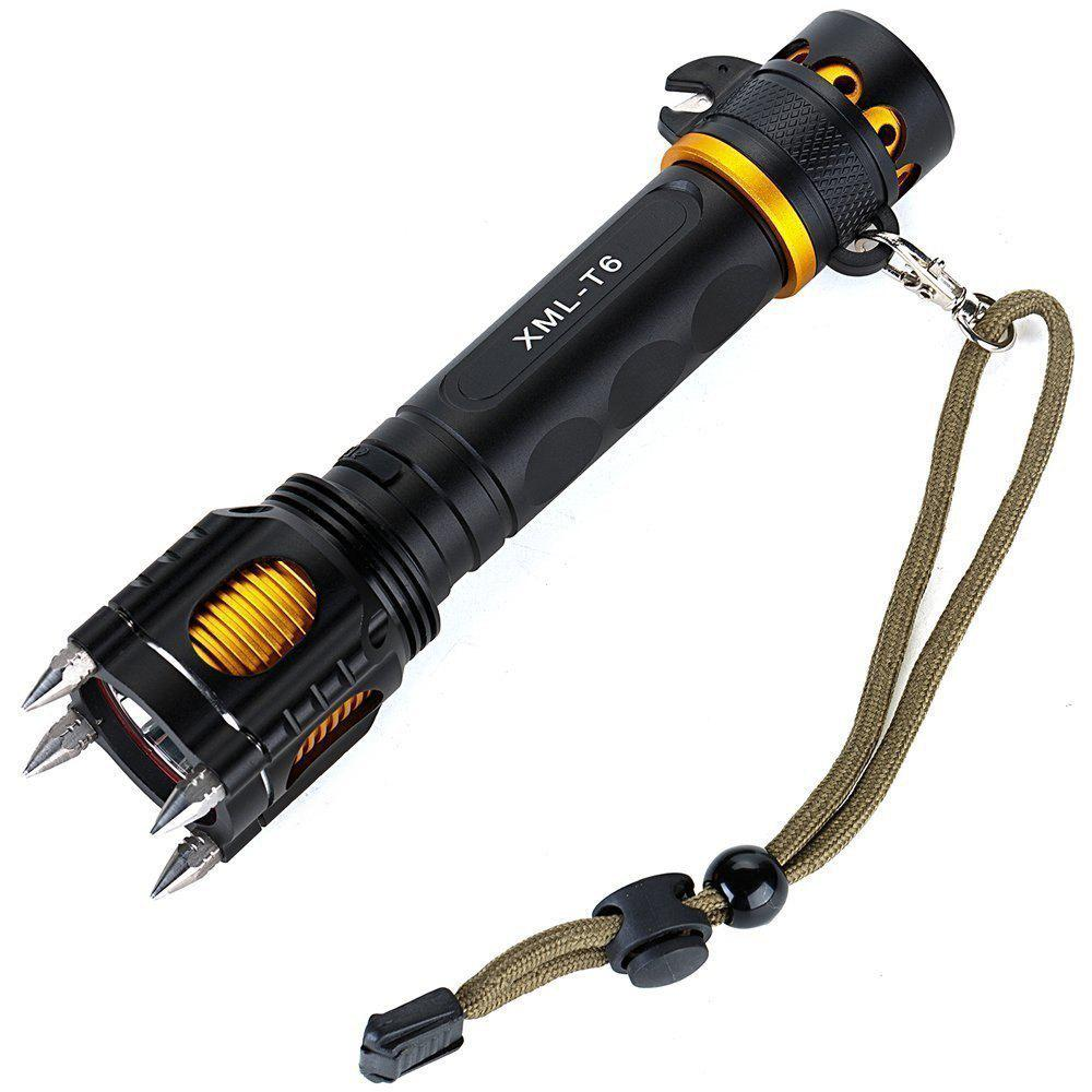 HKV XM-L T6 lampe torche LED alarme sonore alarme imperméable Self Defense