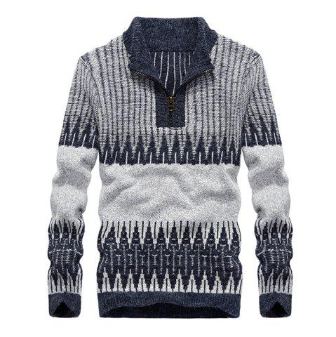 Outfit Fashion Hit Color Round Neck Zipper Pullover Sweater
