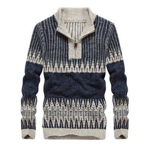 Trendy Fashion Hit Color Round Neck Zipper Pullover Sweater