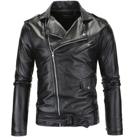 Shop Men PU  Slanted Zipper Jacket