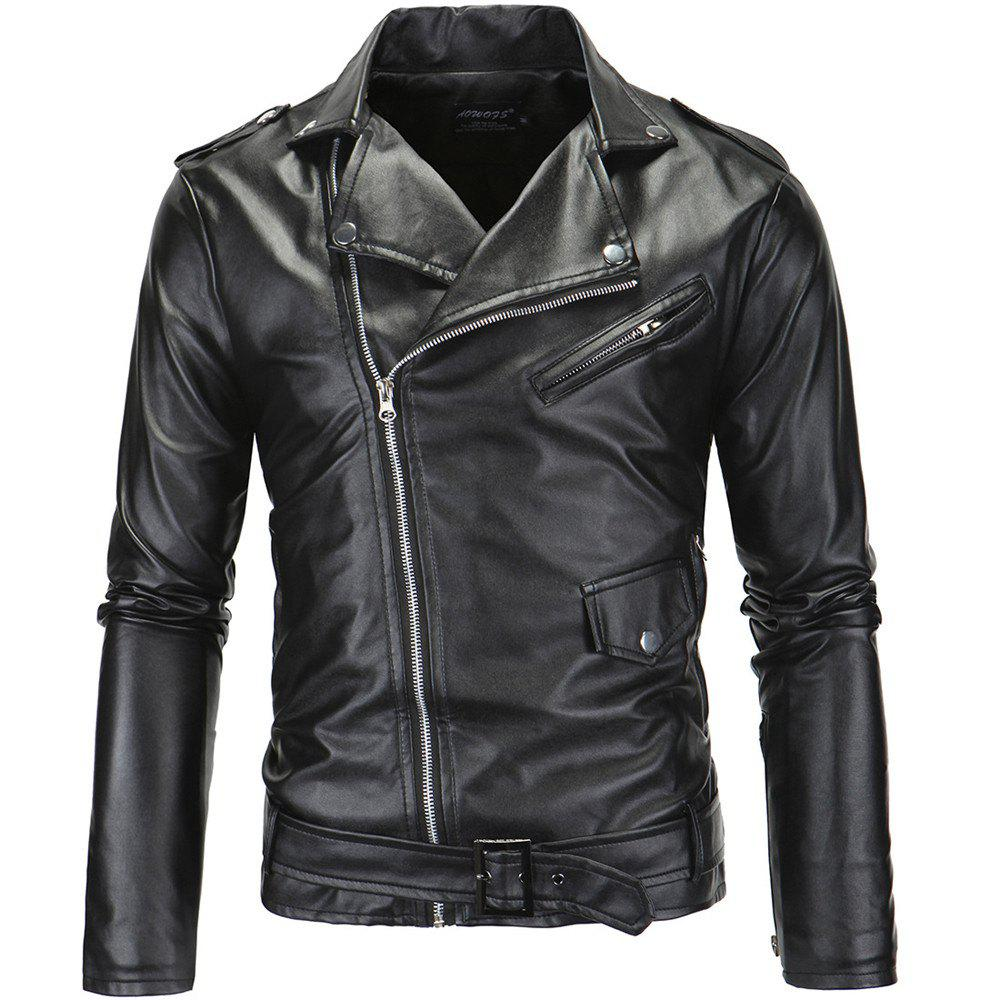 Fancy Men PU  Slanted Zipper Jacket