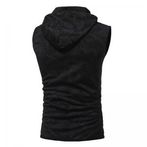 Men'S Personality Camouflage Print Hooded Vest Waistcoat -