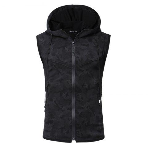 Chic Men'S Personality Camouflage Print Hooded Vest Waistcoat