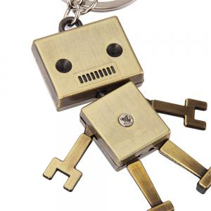 Creative Personality Retro Robot Model Metal Keychain Small Pendant -