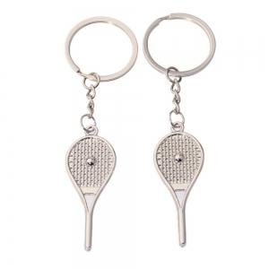 Cute Tennis Racket Couple Metal Keychain Small Pendant 2PC -