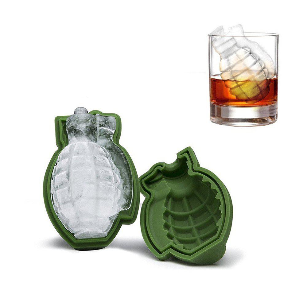 Store Grenade Shape 3D Ice Cube Mold Maker Silicone Trays Tool