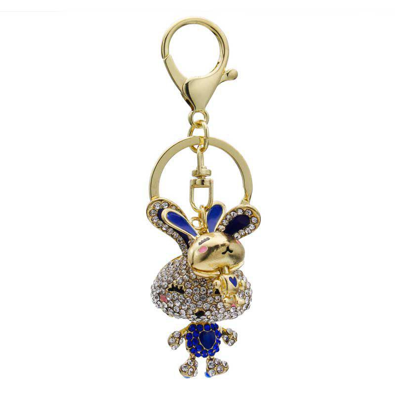 Online Creative Fashion Rabbit Shape Decoration Rhinestone Key Chain