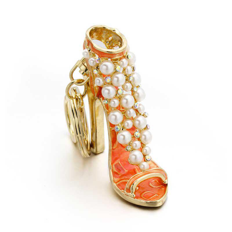 Trendy Creative Fashion High Heels Shape Decoration Rhinestone Key Chain