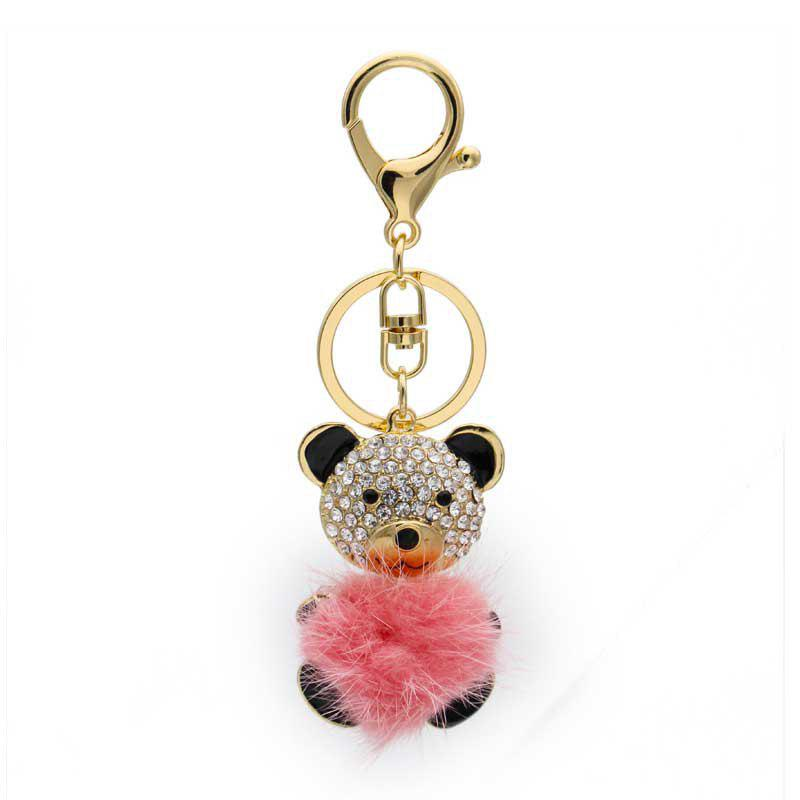 Online Creative Sprout Bear Shape Decoration Rhinestone Key Chain
