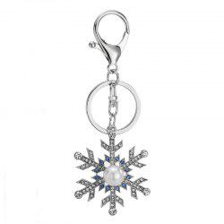 Creative Snowflake Shape Decoration Rhinestone Key Chain -