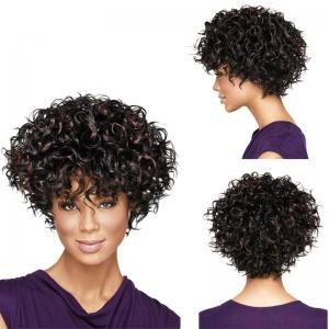 New Fashon Women Short Curly Tousled Synthetic Hair Wigs with Bangs -