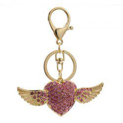 Creative Angel Heart Shape Decoration Rhinestone Key Chain -