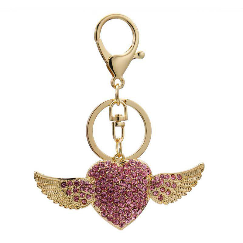 Shops Creative Angel Heart Shape Decoration Rhinestone Key Chain