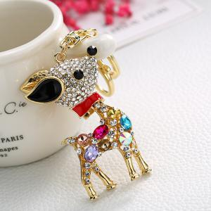 Creative Sika Deer Shape Decoration Rhinestone Key Chain -