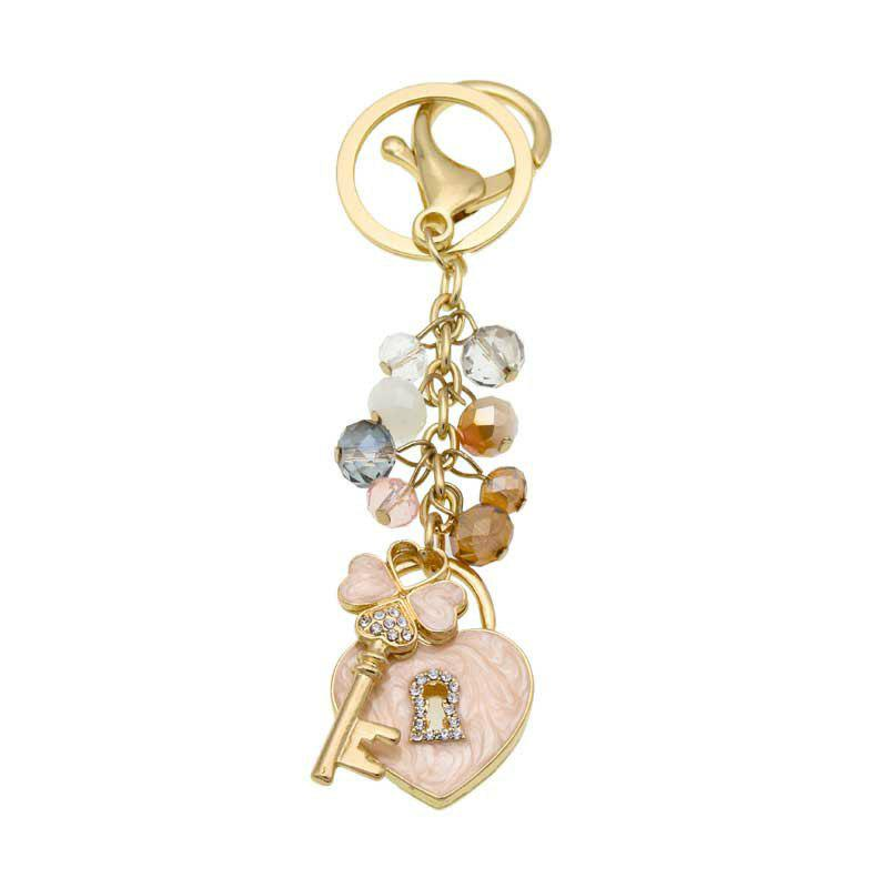 Sale Creative Love Lock Shape Decoration Rhinestone Key Chain
