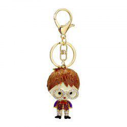Creative Lovely Eyeglasses Shape Decoration Rhinestone Key Chain -