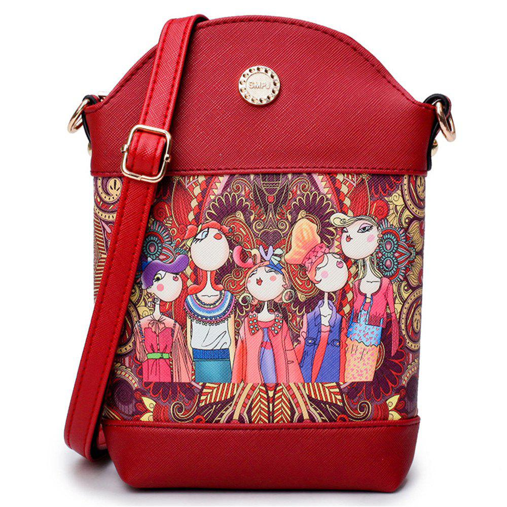 Online Fashion Painting Simple and Cute Fresh Small Wild Shoulder Diagonal Bucket Bag Tide