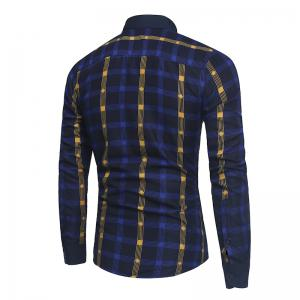 2018 New Spring and Summer Men's Fashion Fight Color Plaid Casual Long-sleeved Shirt -