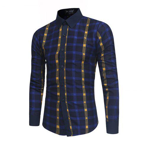 Best 2018 New Spring and Summer Men's Fashion Fight Color Plaid Casual Long-sleeved Shirt