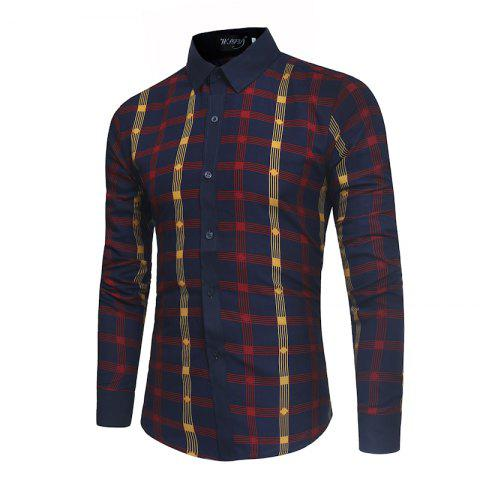 Discount 2018 New Spring and Summer Men's Fashion Fight Color Plaid Casual Long-sleeved Shirt