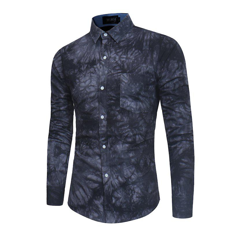 Affordable 2018 New Spring-summer Men's Casual Dyeing Long Sleeve Shirt