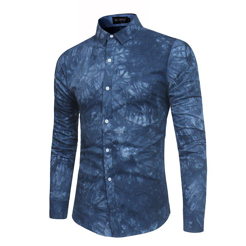Unique 2018 New Spring-summer Men's Casual Dyeing Long Sleeve Shirt