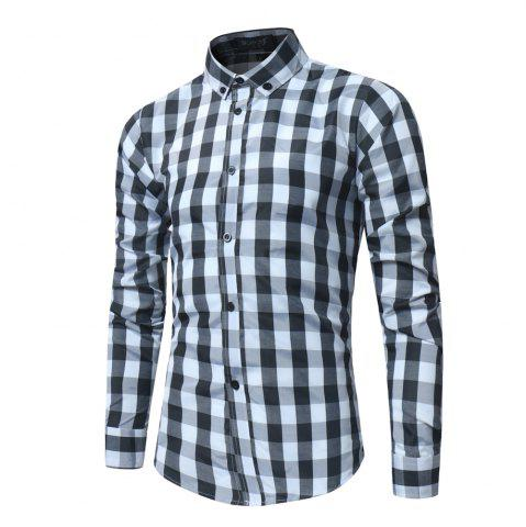 Affordable 2018 New Spring and Summer Men's Fashion Lattice Slim Long-sleeved Shirt
