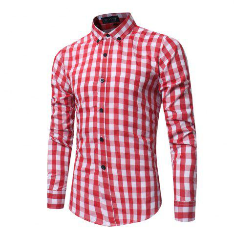 Latest 2018 New Spring and Summer Men's Fashion Lattice Slim Long-sleeved Shirt