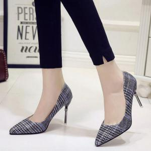 Summer New Pointed Fine with Square Suede Temperament High Heels -